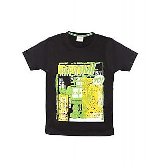 BoyS Half Sleeves T-Shirt With Front Print (Black)