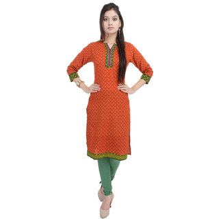 Tami Orange Cotton Printed Kurti with Embd Yoke