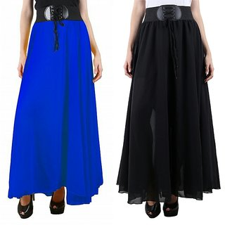 Blue Black Georgette Plain Flared Skirt With Belt For Women