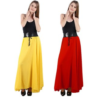 Simmer Yellow and Red Long Skirt Set of Two combo with Belt