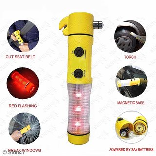 5 in 1 Car Led Flashlight Alarm Emergency Hammer Safety Belt Cutter Auto Tool
