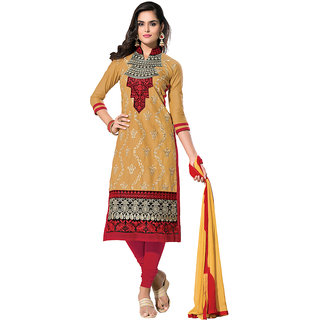 Style Mania Shaded Beige Cambric Cotton Straight Salwar Kameez SMDMKH6003