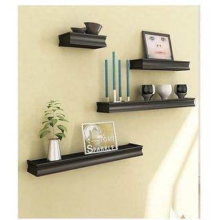 Onlineshoppee Beautiful Wooden Black Rectangular Wooden Wall Shelf