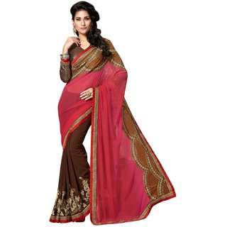 Manvaa Gajri  coffie Pure Georgette Party wear saree