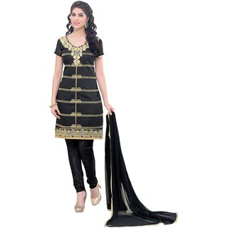 Manvaa Black Chanderi Cotton Chudidar Embroidered Dress Material