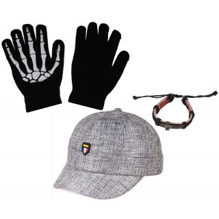 sushito  Purple Cap With Beeds Mala Combo Hand Gloves JSMFHCP0919-JSMFHHG0037