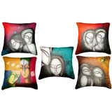 Set Of Five Face Paintings Cushion Cover Throw Pillow