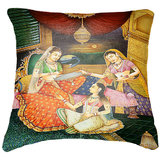 Set Of Three Indian Princesses Painting Cushion Cover Throw Pillow
