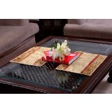 Jodhaa Beige Gold Velvet Table Mats Set