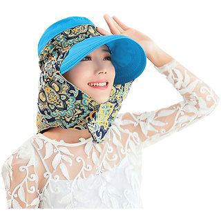 Modo Vivendi Womens Summer Hat with Scarf  Foldable Sun Protection Roll Up Sun Hat ( Blue )