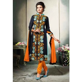 Elevate Women Orange Straight Embroidered Chanderi Cotton Dress Material