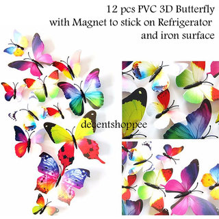 12 Pcs PVC Butterfly Wall Stickers with Adhesive