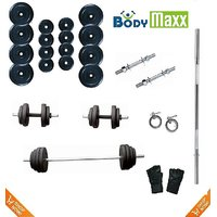 30 Kg Body Maxx Home Gym Set Rubber Weight Plates & 2 Dumbells Rods & 3 Ft Bar