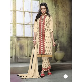 Thankar Cream Embroidered Cotton Straight Suit