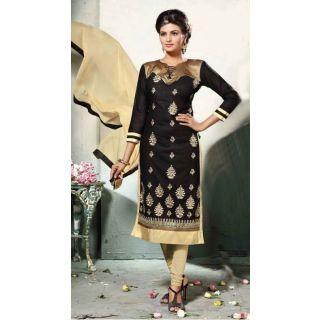Elevate Women Black Straight Embroidered Chanderi Cotton Dress Material