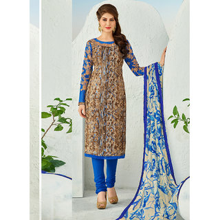 Vastrani Brown and Blue Embroidered Art Silk and Cotton Salwar Suit 372D60