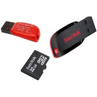 Sandisk Cruzer Blade 8GB Pen Drive With Sandisk 32GB SD Memory Card