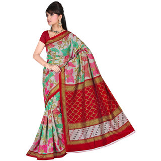 Lovely Look Grey  Red Printed Saree LLKGPS5150