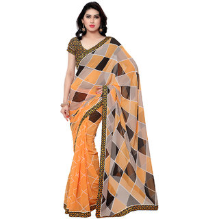 Sareemall Multi Georgette Lace Border Saree with Unstitched Blouse SRA1003