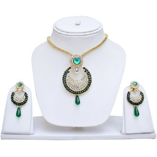 Green  White Pendant Set With Chain