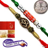 2 Auspicious Rakhi For Brother Rakhi Gift Set With Silver Plated Coin Tilak & Chocolate