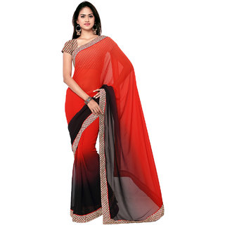 Sareemall Multi Georgette Lace Border Saree with Unstitched Blouse SLY5505