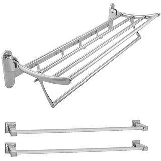 Klaxon Folding Steel Bath Set (Towel Rack With 2 Towel Rod)