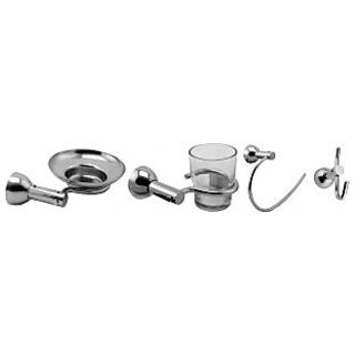 Klaxon Krypton Steel Bath Set (Soap Dish, Tbh, Napkin Ring, Hook Pack Of 2 Pc...