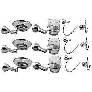 Klaxon Krypton Steel Bath Set (Soap Dish, Tbh, Napkin Ring, Hook Pack Of 3 Pc...