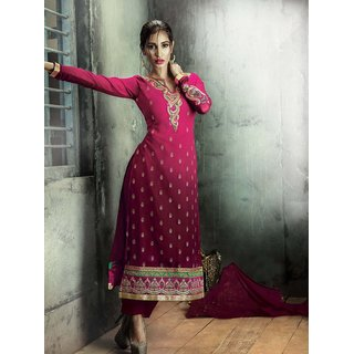 Thankar Pink Embroidery Georgette Straight Suit