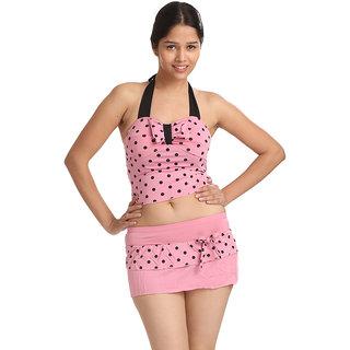 Swim Sexy Polka Dot Tie Front Halter Baby Pink Tankini
