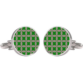 CuffTank Cufflinks Green and Grey Net