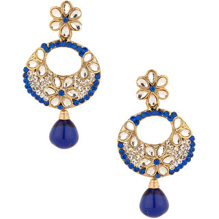 Gold Plated Blue Crescent Floral Earrings Studded With Kundans Cz Stones