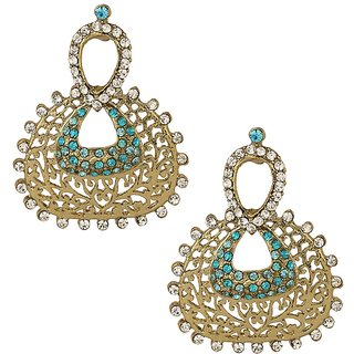 Gold Plated Pretty Earrings Studded With Blue Cz Stones