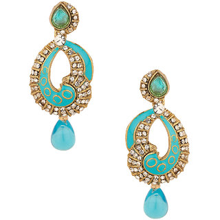Gold Plated Blue Meenakari-Drop Earrings With Cz Stones