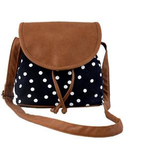 Lychee Bags Emma Black Canvas Sling Bag