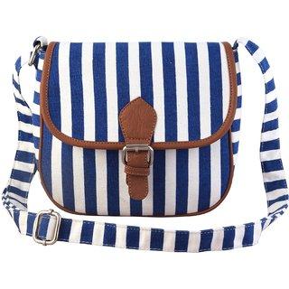 Lychee Bags Myra Blue Canvas Sling Bag