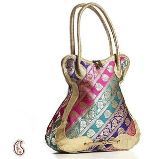 Aapno Rajasthan Multicolour Raw silk Bell Shaped Clutch