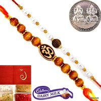 Set Of 2 Rakhi For Bhaiya Raksha Bandhan Gift+Coin+Tilak+Chocolate