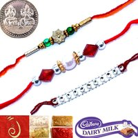 SET OF 3 RAKHI GIFT FOR BROTHER SEND RAKHI GIFT TO INDIA RAKSHA BANDHAN GIFT