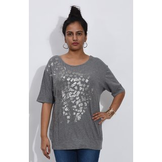 Entease Grey Cotton Printed Casual Top