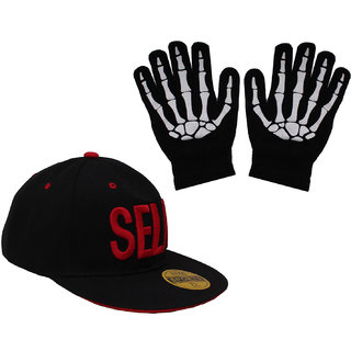 sushito  SelFie Black Hip Hop Cap With Hand Gloves JSMFHCP1453-JSMFHHG0037