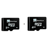 Strontium 8GB Micro SD Card  (Class 4) + Strontium 4GB MicroSD (Class 4)