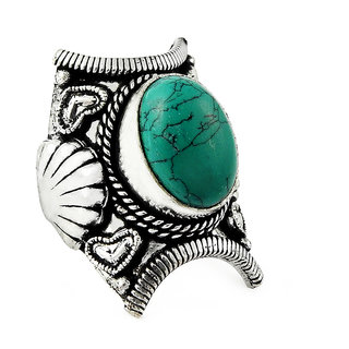 Miska Silver German Silver Blue Color Ring With Turquoise Stone Size-5.5 for Woman  GirlsGRNCB16-1021-28