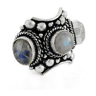 Miska Silver German Silver White Color Ring With  Moonstone Stone Size-9 for Woman  GirlsGRNCB16-1022-1