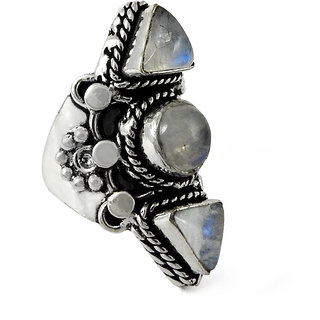 Miska Silver German Silver White Color Ring With  Moonstone Stone Size-5 for Woman  GirlsGRNCB16-1024-5