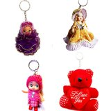 Teddy And  Barbie Key Chain Combo Pack -4 Pcs