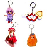 Double Heart And Barbie Keychain Combo Pack - 4pcs