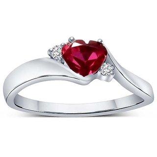 Addimon Red Heart in White Gold Diamond RIng (307)