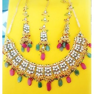 DESIGNER BRIDAL NECKLACE SET IN CZ DIAMOND,RUBY,EMERALD